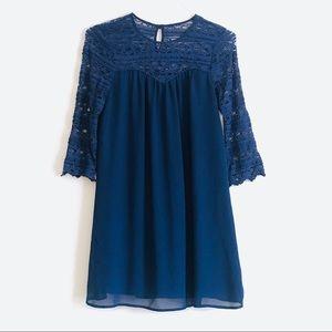 Navy Lace Sleeve Shift Dress